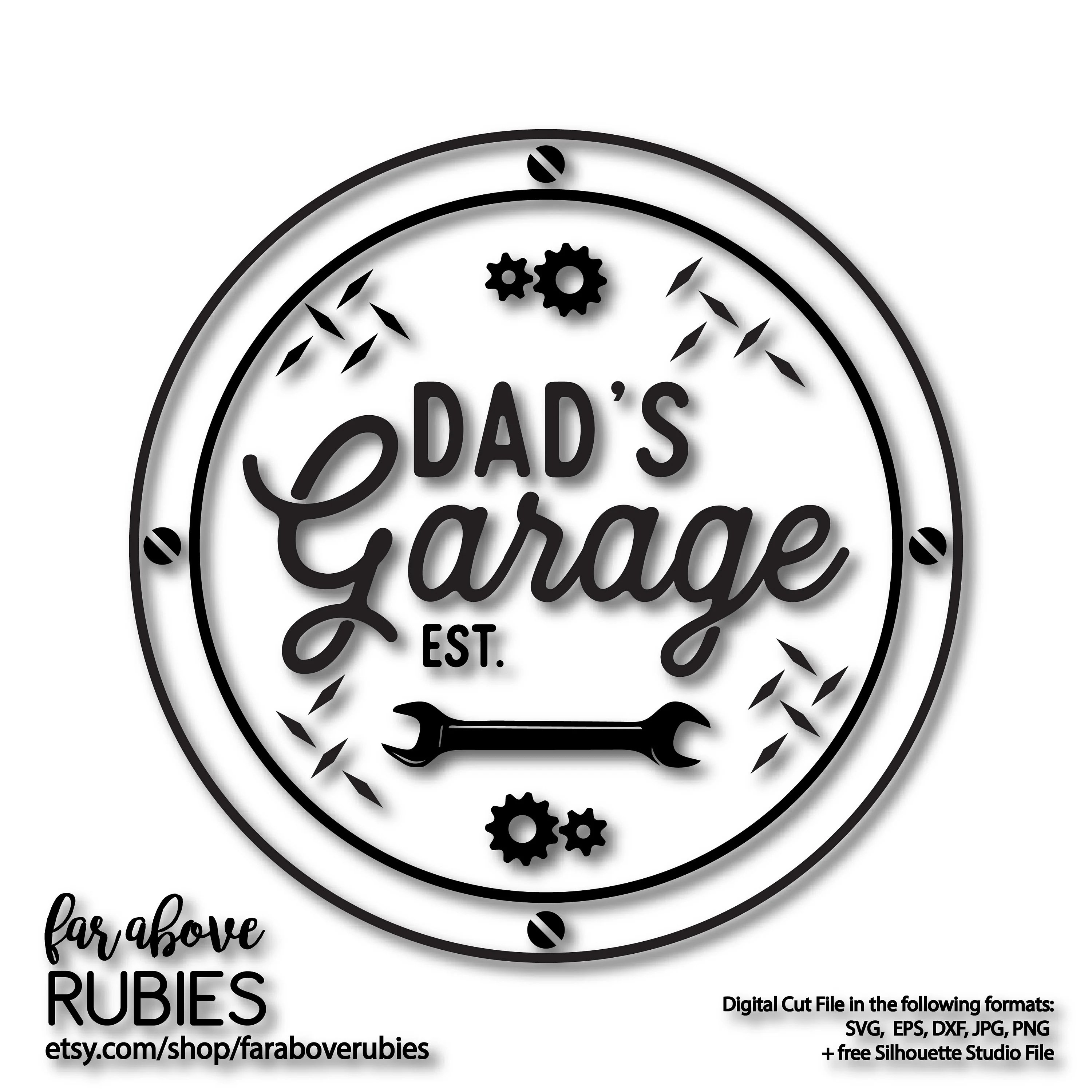 Dad S Garage Svg Sign Gears Wrench You Personalize With