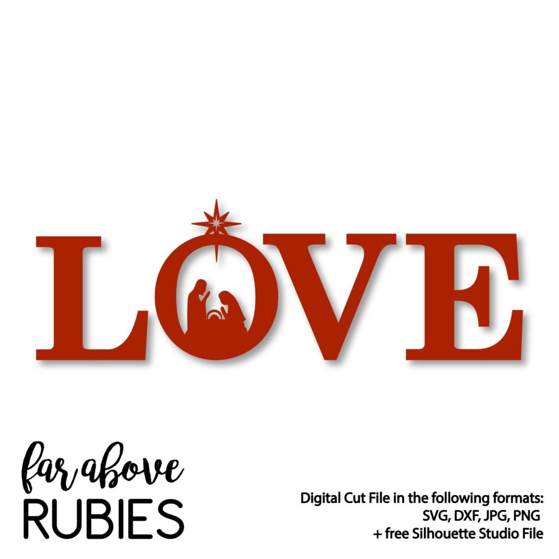 Download LOVE Nativity Christmas SVG DXF png jpg digital cut file ...
