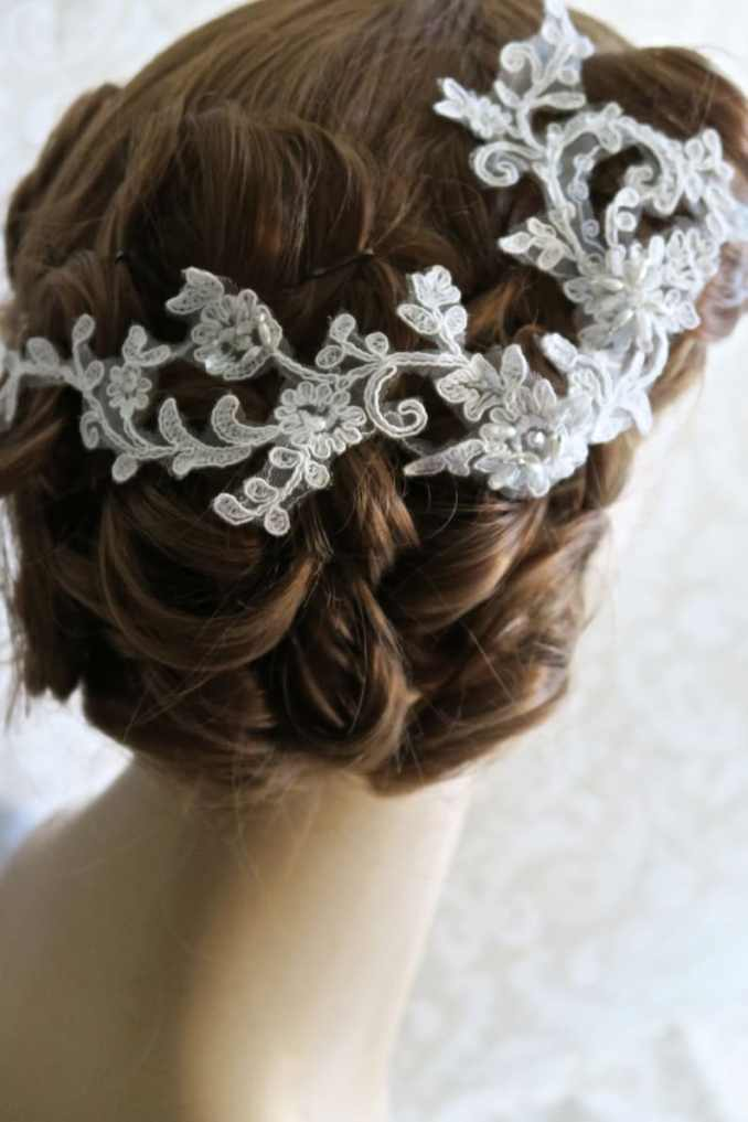 wedding hair bridal, lace headpiece, bridal hair accessories, vine lace embellished with rhinestones and pearls.