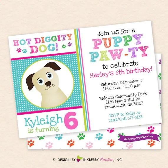 dog puppy birthday paw ty invitation
