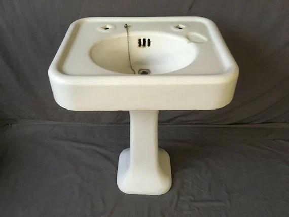 antique 24 cast iron white porcelain pedestal sink old vtg bathroom 220 19e