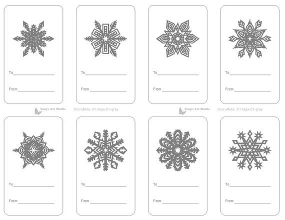 8 Printable Snowflake Gift Tags Gray Gift Tags Christmas Etsy