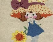 Vintage Strawberry Shortcake Framed Needlepoint