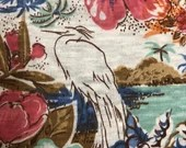 Island Fabric Remnant, Vintage Island Fabric, Tropical Fabric Remnant, Bird Fabric