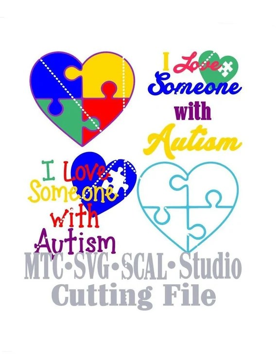 Download SVG Cut File I Love Someone With Autism with Puzzle Hearts ...