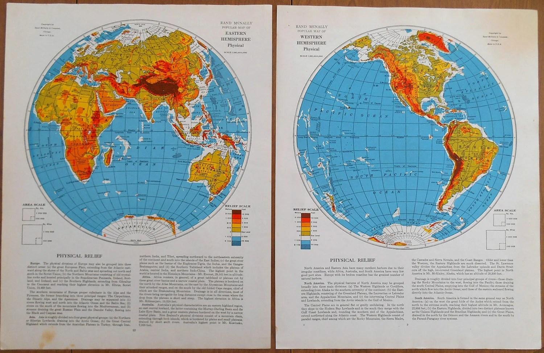 World Maps Eastern And Western Hemisphere Maps Set Of 2