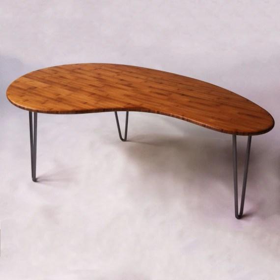 mid century modern coffee table kidney bean shaped atomic eames era boomerang design in bamboo