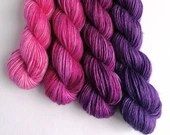 Hand dyed DK yarn - single ply superfine alpaca/merino/silk double knit wool. 4x50g pink purple gradient, soft double knit wool yarn