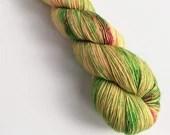 Hand dyed yarn, singles superwash merino 4ply wool yarn, Spring speckles, greens, yellows and pink, fingering weight merino wool yarn.