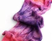 Hand dyed double stranded sock yarn blank, superwash merino/nylon sock yarn blank. Orange, pink, purple knitted sock yarn blank.