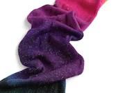 Hand dyed sparkle sock yarn blank, superwash merino/nylon/sparkle knitted blank.  100g/400m/437yds, Orange, pink, purple, dark blue gradient