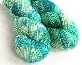 Hand dyed yarn, singles superwash merino/sparkle wool yarn, ooak blues greens, sparkly soft sock/4ply/fingering weight, knitting, crochet