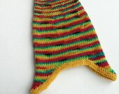 Hand knit baby's wool earflap hat, red, yellow, blue, green, pink, baby boy, baby girl, soft, wool, hand knitted from hand dyed wool yarn.