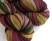 Hand dyed wool yarn, variegated sw merino/yak/nylon sock/4ply/fingering yarn. Vintage Christmas, dark reds, gold, green, grey sock yarn