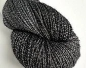 Hand dyed yarn, 100g of silver sparkle sock yarn, superwash merino/lurex 4ply/fingering. Deep Space - semi-solid black and dark grey yarn.