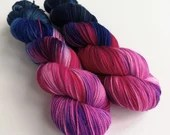 Hand dyed sock yarn, high twist superwash merino/nylon sock/fingering/4ply, variegated sock yarn, pink purple blue yarn, high twist yarn
