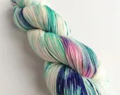 Hand dyed MCN sock yarn, superwash merino/cashmere/nylon 4ply or fingering wool yarn. Variegated 4-ply yarn for knitting or crochet.