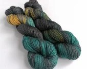 Hand dyed yarn, single ply merino/silk 4ply/fingering weight yarn. Variegated indie dyed yarn - Mutiny - gold, teal, black and dark brown.