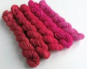 Gradient yarn mini skeins. 5 x 20g red - pink gradient yarn sets. Semi-solid minis, shift gradient yarn, sparkle sock, sock/4ply/fingering