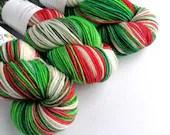Hand dyed wool yarn, superwash merino dk wool yarn, Crazy 8 DK. Holly Jolly Christmas, red green white double knit wool, knitting, crochet.