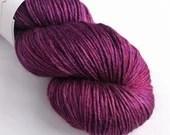 Hand dyed camel silk dk yarn. 100g of baby camel/silk yarn DK, double knit yarn.  Semi-solid tonal pink purple luxury yarn, Purple Haze.