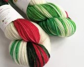 Hand dyed yarn, superwash merino dk wool yarn, variegated double knit. Holly Jolly Christmas yarn, double knit merino wool, knitting wool.
