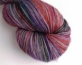 Hand dyed variegated 75/25% superwash merino/nylon sock fingering 4ply weight yarn, Enchanted Wood, greys, purple, blue, orange, black yarn.