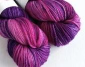 Hand dyed MCN aran yarn - superwash merino/cashmere/nylon aran weight. Purple Haze, purple and pink tonal, soft wool yarn with cashmere.