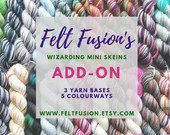 Hand dyed Wizarding yarn mini skeins pre-order 3.  5 new colourways in a choice of 3 yarn bases. Variegated sock, sparkle sock, dk yarn.
