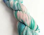 Indie dyed silver sparkle sock yarn, superwash merino/nylon/stellina sparkle sock yarn, hand dyed yarn.  Cool Frustration blue and pink yarn