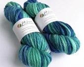 Hand dyed BFL super chunky/bulky yarn.  Blue Faced Leicester. Knitting, crochet.  Thick, blue wool yarn, variegated blues.