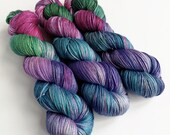 Hand dyed superwash merino/silk 4ply yarn. Variegated pink, purple, blue and green yarn - Moody Bird - for knitting, crochet or weaving.