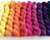Hand dyed sunset mini skeins. 10 x 20g semi-solid mini skein yarn sets. sparkle sock, sock/4ply/fingering, double knit dk mini skein sets