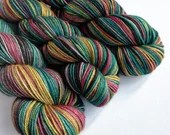 Hand dyed yarn superwash merino/yak/silk DK, Harry - variegated red, gold, teal, black and grey yarn. Yak silk blend for knitting, crochet,
