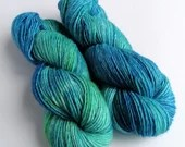 Hand dyed worsted weight singles merino wool yarn. Blues and greens, soft merino worsted wool, merino singles, single ply wool yarn.