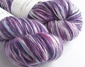 Hand dyed fine merino/mulberry silk 4ply/fingering weight yarn. Variegated purples and pink soft 4-ply knitting wool, crochet wool