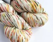 Hand dyed yarn, singles superwash merino 4ply wool yarn, speckled oranges, yellow, green and white fingering yarn, knitting, crochet wool.