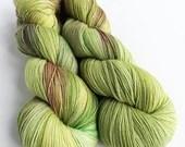 Hand dyed variegated superwash merino/nylon sock fingering 4ply weight yarn, Coleus green and plum sock yarn for knitting, crochet, weaving.