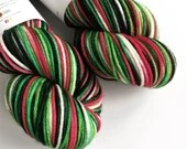 Hand dyed worsted weight wool yarn. Holly Jolly Christmas worsted superwash merino wool, hand dyed rios, variegated red and green indie yarn