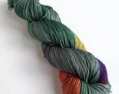 Hand dyed sock yarn, variegated 75/25% superwash BFL/nylon sock/fingering/4ply weight yarn, Dark Winter Rainbow, green grey with rainbow.
