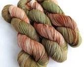 Hand dyed variegated superwash merino/nylon sock fingering 4ply weight yarn, Sybil - autumn browns and green, gentle variegated sock yarn.