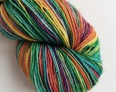 Hand dyed yarn, variegated rainbow yarn, singles superwash merino 4ply wool yarn, fingering weight yarn, for knitting, crochet, weaving.