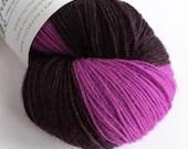Self Striping sock yarn, hand dyed superwash wool/nylon, fingering, 4-ply. Dark and vivid purple self-striping yarn for socks, mittens.