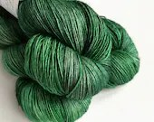 Hand dyed yarn, single ply merino/silk 4ply/fingering weight yarn. Tonal greens, Minerva the witch, 1ply yarn, knitting crochet wool