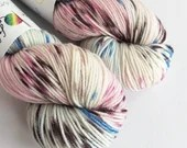 Hand dyed superwash merino dk wool yarn. Variegated crazy 8 double knit wool yarn, Blue Sakura dk yarn.  Blues, pinks and brown.