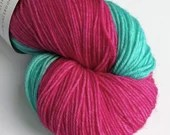 Self Striping sock yarn, hand dyed 75/25% superwash wool/nylon, fingering, 4-ply. Pink and turquoise self-striping yarn for socks, mitts...