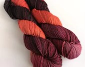 Hand dyed superwash merino dk yarn. Variegated double knit wool yarn, Ron reds orange black, sw merino dk yarn, knitting wool, crochet.