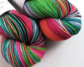 Hand dyed sport weight yarn, variegated 80/20% superwash merino wool/nylon, Hair Up - bright rainbow thick sock yarn.