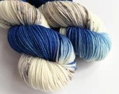 Hand dyed sport weight yarn, variegated 80/20% superwash merino wool/nylon, Blue Amanita, variegated blue and speckled sport sock yarn.