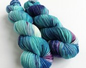 Hand dyed blues and purples sock yarn,  60/20/20% superwash merino/superfine alpaca/nylon sock weight fingering 4ply yarn.